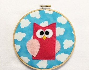 Fabric Wall Art, Owl Wall Art, Shelly the Owl, Embroidery Hoop Art, Nursery Decoration