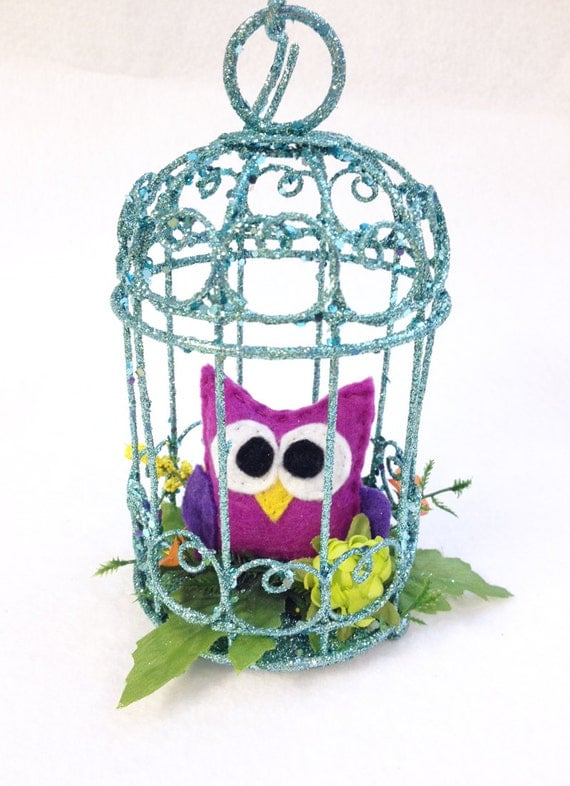 Owl Ornament, Owl in Birdcage - Indigo the Owl, Home Decoration, Purple and Teal, Home Decor, Ornament