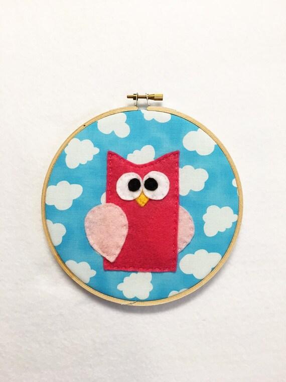 Fabric Wall Art, Owl Wall Art, Shelly the Owl, Embroidery Hoop Art, Nursery Decoration