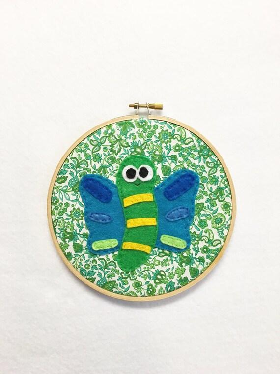 Butterfly Wall Art, Embroidery hoop Art, Fabric Wall Art, Shubert the Butterfly, Nursery Decoration