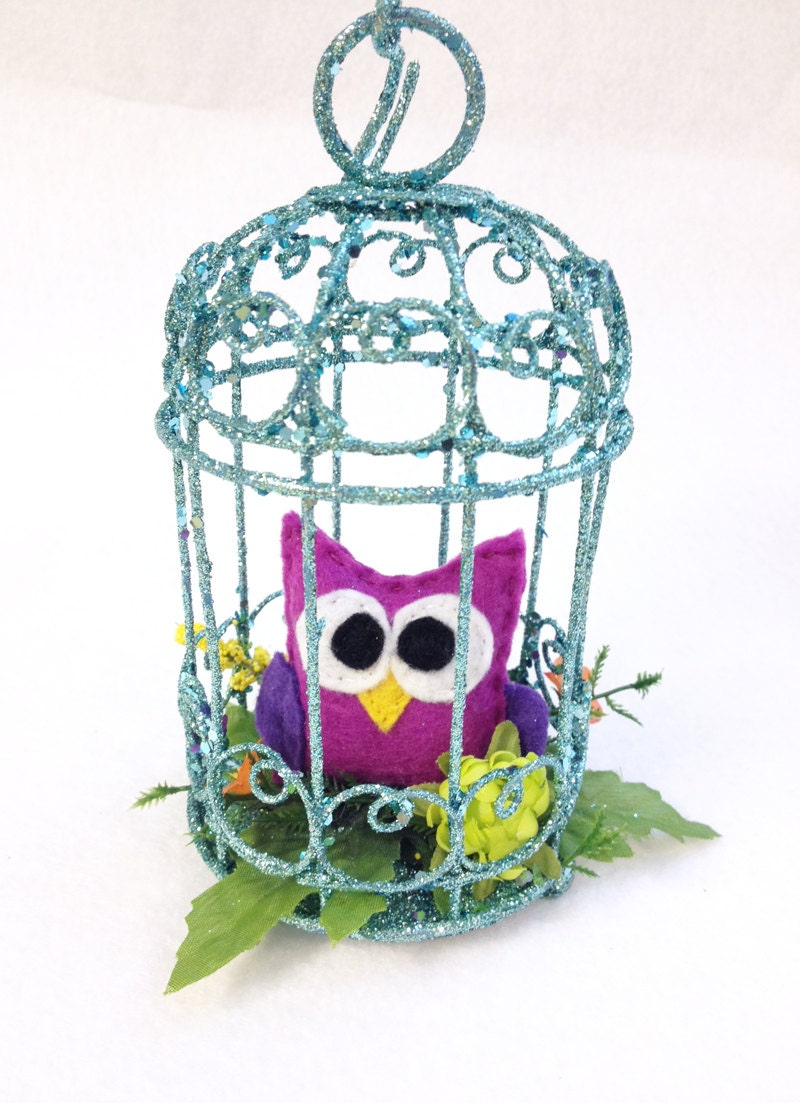 Owl ornament owl in birdcage indigo the owl home for Owl decorations for the home
