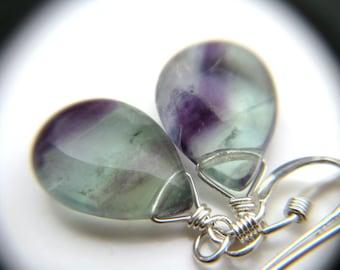 Rainbow Fluorite Earrings . Sterling Silver Wire Wrapped Gemstone Earrings . Simple Teardrop Earrings Drop Earrings - Chakra Collection