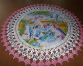 Doilies Unicorn Doily with Pink Chrocheted Edge Fabric Center Home Decor Centerpiece Handmade 18 Inches Butterflies Spring Flowers