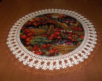 Fall Doily Fall Harvest 20 Inches Fabric Center Crocheted Edging Table Topper Centerpiece Handmade Fall Doily Gift, Home Decor