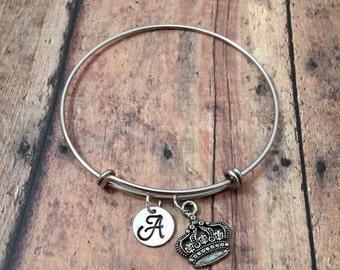 Crown initial bangle - princess crown bracelet, crown jewelry, pageant bracelet, silver crown bracelet, princess jewelry, pageant jewelry