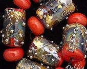DSG-Debbie Sanders Glass Handmade Lampwork Beads (Made To Order) Coral Beach
