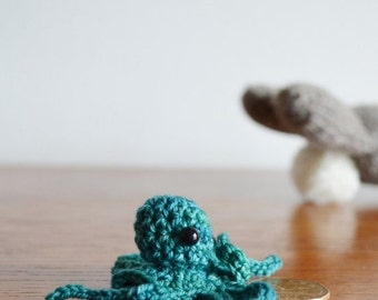 Sale Awkward Octopus. Pocket Octopus. Tiny Handmade Amigurumi in Soft Wool. Bright Blue, Hand Dyed Wool. Tiny Sea Creatures/Spring Gifts Und