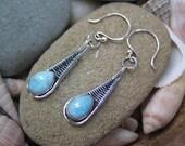 Larimar Wire Wrapped Earrings, Dangle, Blue Gemstone Earrings, Sterling Silver, Handmade Jewelry