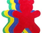 Diecut TEDDY BEARS, diy,  appliques, teddy, baby, child, toddler, TEMPORARILY Fused 100% premium cotton fabric,  Assorted primary brights
