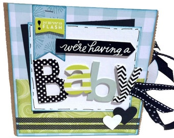 We're Having a Baby Srapbook - Pregnancy Scrapbook - Mini Paper Bag Album - Baby Memory Book