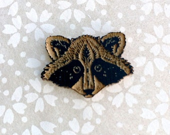 Raccoon Robber pin in painted maple