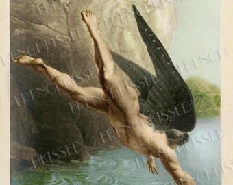 Black Winged Angel Mythical Fantasy Altered Antique Illustration Digital Scan