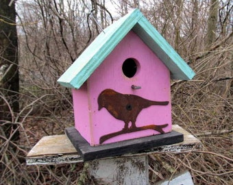 Birdhouse Functional Primitive Pink Blue Rusty Bird