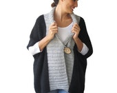 50% CLEARENCE Black - Light Gray Mohair Cardigan with Big Coconut Button by Afra Plus Size Over Size