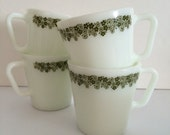 PYREX Spring Blossom Green Cream and Sugar Bowl Olive Green