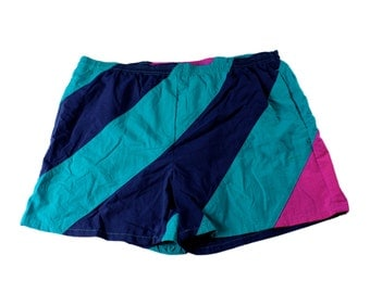 Vintage 1990s 90s Teal/Navy/Pink Striped Swim Trunks Mens Retro Swimwear Size XL