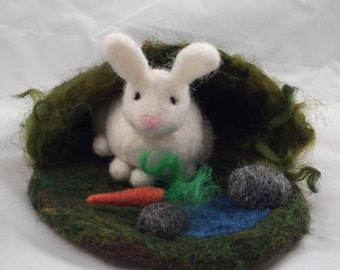 Bunny's Home Needle Felted Wool Play Mat - Ready to Ship!