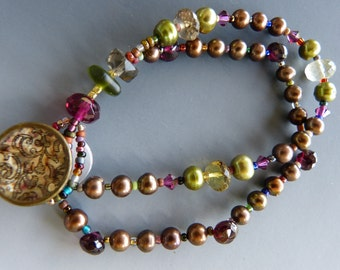 Pearl, Garnet, and Lemon Quartz Bracelet with Vintage Button Clasp
