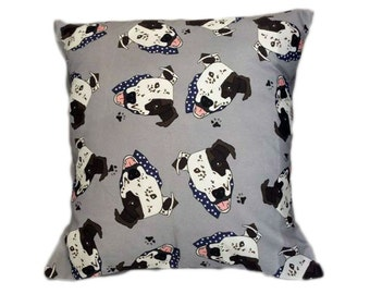 Arthur Crossbreed Rescue Shelter Mongrel Dog Scatter Cushion Grey Unique ZukieStyle Fabric Design Print