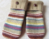 Felted, Repurposed Sweater Wool Mittens in Camel and Rust with Multi-Color Stripes, Adult Size