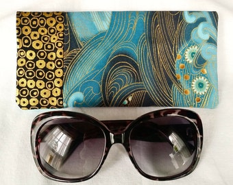 Ocean Swirl Glasses Case, Sunglasses Holder, Blue Black