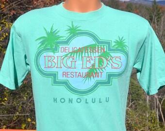 80s vintage t-shirt BIG ED'S deli restaurant honolulu hawaii pakalolo tee Large Medium green defunct