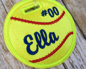Personalized softball bag tag, softball gift, name tag, sports bag tag, sports team bag tag, girls and womens softball