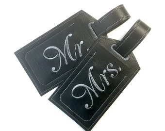 Mr and Mrs luggage tag, 2 vinyl luggage tags, wedding honeymoon gift, mr and mrs personal gift black embroidered tag