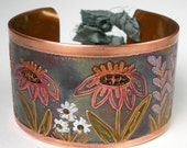 Etched Copper Cuff, Rustic Cuff, Hammered and Stamped, Hand-Drawn Design, Earthy Copper Cuff, Floral, Heat Patina, Womens- Prairie Flowers