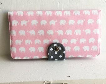 BiFold Wallet Clutch - Handmade Wallet - Vegan Wallet / Kawaii Elephant in Pink -- Ready to Ship