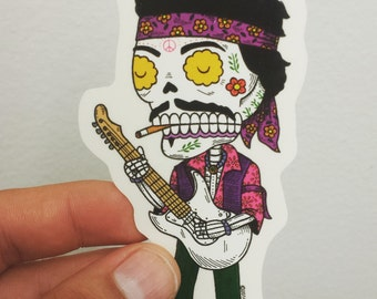 Jimi Hendrix Calavera Die Cut Vinyl Sticker