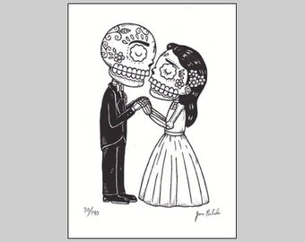 The Wedding Limited Edition Gocco Screenprint Day of the Dead Art