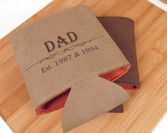 Father's Day Coozie - Leather Can Cooler for Dad - Personalized Can Cozy