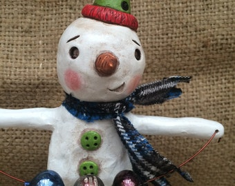 Snowman Christmas Decoration with blue scarf and vintage german mercury glass folk art Sculpture Ready to Ship