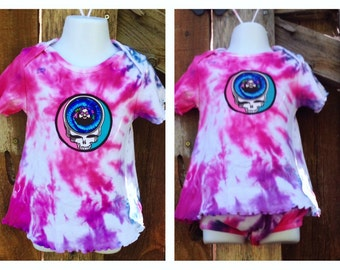 Grateful Dead Tie Dye Baby Girl outfit, 18M to 2T pink and purple tie dye toddler girls grateful dead top & bottom, hippie baby outfit