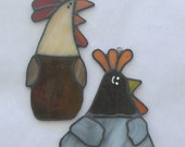 Crazy chicks stained glass chicken suncatcher set of 2