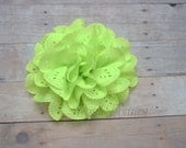 Neon Green Eyelet Lace Flower Hair Clip - Lace Flower - Lime Green