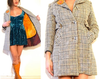 Vintage 60s 70s Private Investigation MOD Checkered Houndstooth Tweed Coat (size xs, small)