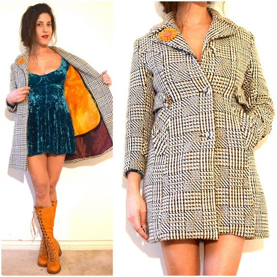SPRING SALE/ 20% off Vintage 60s 70s Private Investigation MOD Checkered Houndstooth Tweed Coat (size xs, small)