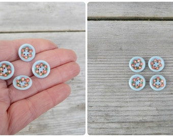 Vintage Antique 1930 old French floral pattern painted  buttons set of 4