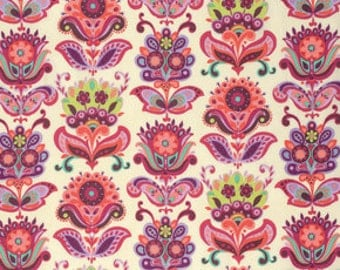 1 YARD - Amy Butler Fabric - Bright Heart - Folk Bloom, Pink, Purple Floral - Natural