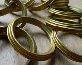 10 antique french brass curtain rings -