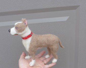 Custom Pet Portrait / Needle Felted Dog / poseable Large Animal Sculpture example Staffordshire Bull Terrier Pitbull