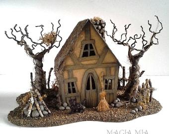 Witch Tudor Cottage Handmade Putz House Miniature Broom Bonfire Mini House  OOAK Lighted