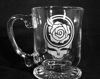 Grateful Dead Etched Glass Coffee or Hot Chocolate Mug Sandblasted Steal Your Face
