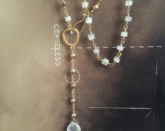 moonstone necklace gold necklace boho style yoga jewelry gold wire wrapped rosary style necklace