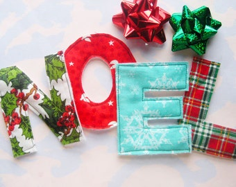 Colorful Sewn Fabric Applique Letters Embellishment NOEL