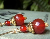 Rust Carnelian Earrings, Round Rondelle Gemstone, Goldfilled Gold Filled Earwires, Faceted Round Gemstone, Natural Stone Jewelry