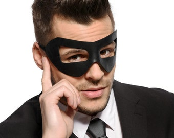 Mens Black Masquerade Mask - Faux Leather - Prom Mask - Venetian Mask  - Party Mask - Super Hero - Cosplay - Men's - Unisex