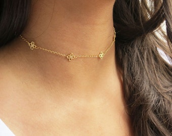 Dainty Lace Choker Necklace  Gold Clover Chain Layering Necklace Gold Tattoo Choker Necklace Bridesmaids Gift